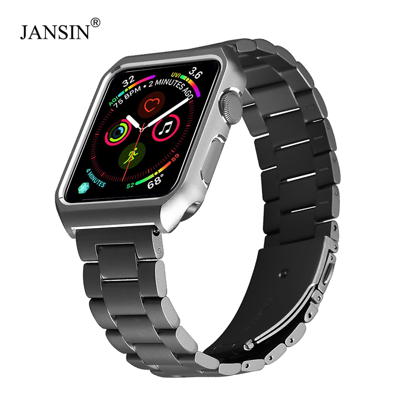 JANSIN Stainless Steel Watchband With Protective Case For Apple Watch 38mm 42mm 40mm 44mm Series 4 3 2 1 Metal Replacement Strap