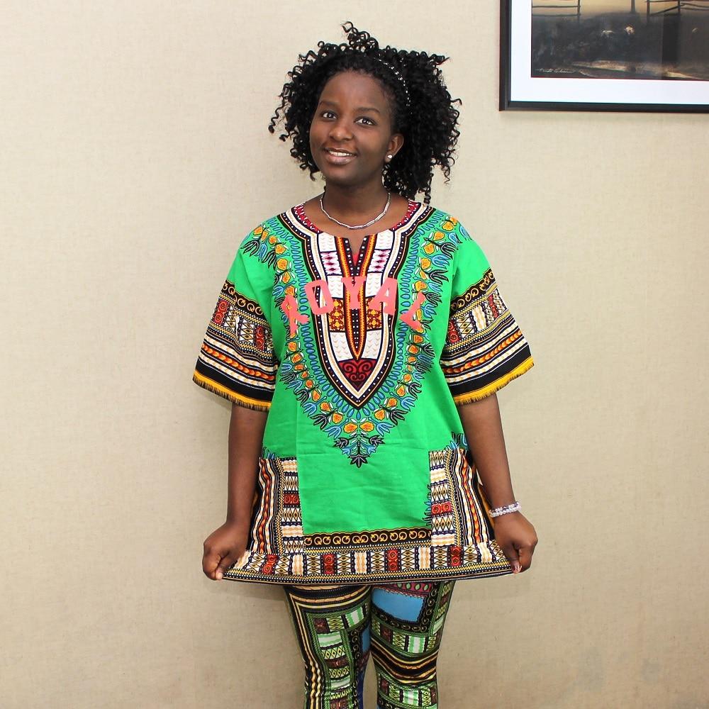 African Fashion Female Dashiki Tops Women Classic Green Dashiki With Pockets