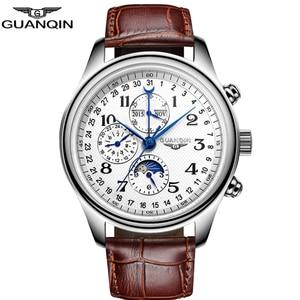 GUANQIN Новые автоматические часы Механические сапфировые мужские часы лучший бренд класса люкс Бизнес водонепроницаемые часы для мужчин Relogio...