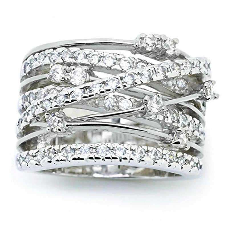 925 Серебряное винтажное обручальное кольцо с крестиком, роскошные большие обручальные кольца с цирконием для женщин, модное ювелирное изделие из розового золота, подарок
