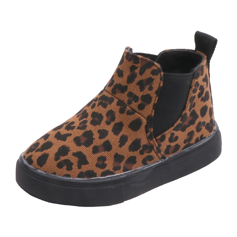 New Winter Girls Boots Leopard Princess Ankle Boots Kids Snow Boot Leather Non-slip Warm Children Sneakers Size 21-30