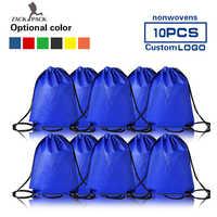 10pcs Zackpack Non-woven Drawstring Bags Promotional Sports Printed Backpack Custom Logo Travel Storage Bag wholesale women