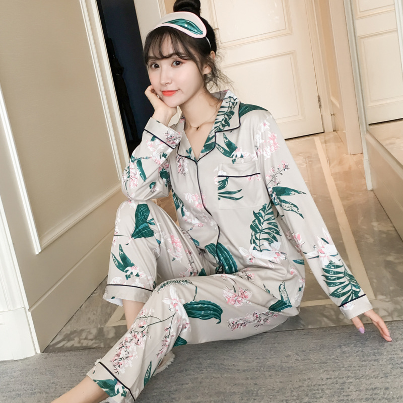 Spring And Autumn Women's Korean-style Pure Cotton Long Sleeve Pajamas Sweet Cute Plus-sized Striped Suit Cardigan Tracksuit Sum