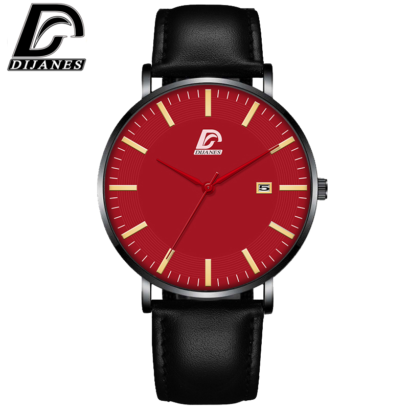 DIJANES Fashion Mens Minimalist Watches For Men Casual Date Calendar Clock Classic Male Leather Quartz Wrist Watch Reloj Hombre