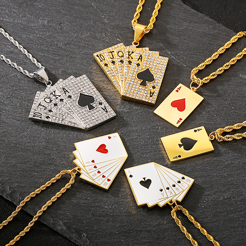 KALEN Lucky Ace Of Spades Mens Necklace Gold Poker Pendant For Male Stainless Steel Casino Fortune Playing Cards Jewelry 2020