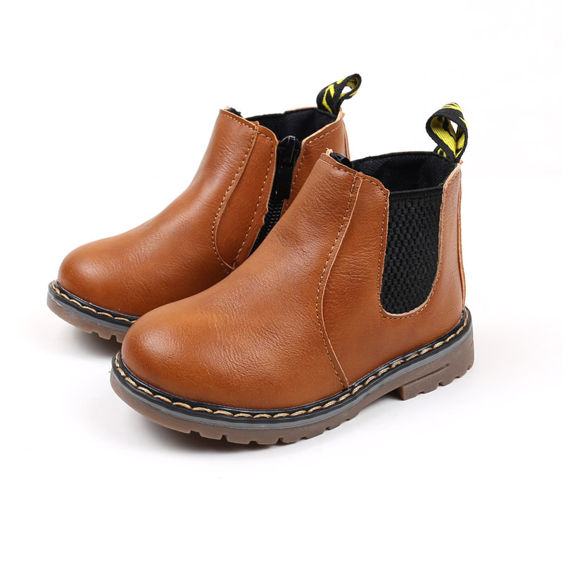 Children's Boots Fur Lined Boys Girls Baby Short Ankle Snow Boots Waterproof Side Zipper Winter Shoes Kids Infant Martin Booties 2