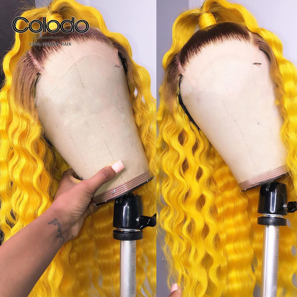 COLODO Pre Plucked 1b/4 Roots Yellow Ombre Human Hair Wig Brazilian Remy Pink Deep Wave Wig Lace Front Human Hair Wigs For Women