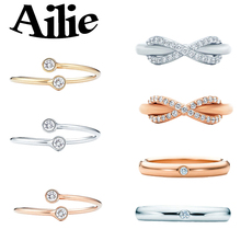 Ailey original high quality 925 sterling silver bow ring round bead type rose gold classic Jane fashion lady jewelry couple gift