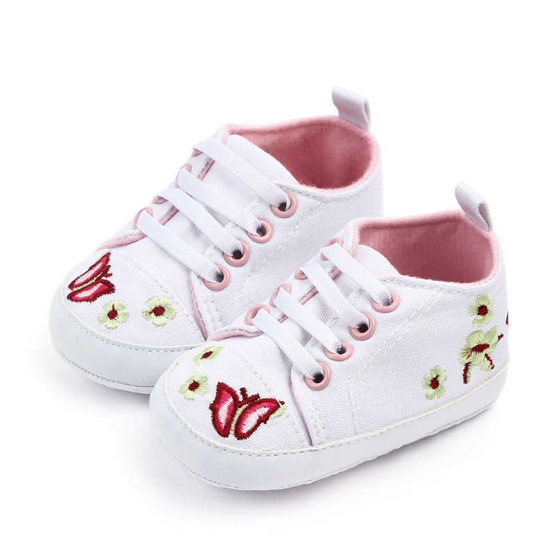 Newborn Infant Baby Girls Floral Crib Basic Shoes Soft Sole Anti-Slip Casual Sneakers Princess First Walker Canvas
