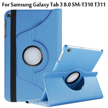 цена на New Coque for Samsung Galaxy Tab 3 8.0 SM-T310 T311 Case 360 Rotation Smart Stand PU Case for Samsung Tab 8.0 T310 T311 360 Case