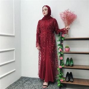 Middle East Muslim Sweet Open Abaya Women Lace Loose Maxi Long Robes Musulman Embroidery Kimono Caftan Dubai Hijab Dresses Jubah