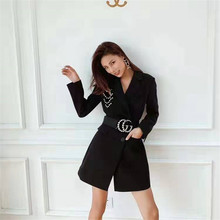 Woman Black Suits Dress Belt Slim Fashion Simple Women Openwork Design Short Suit New