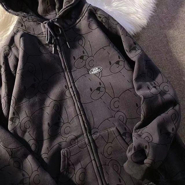 12345-Lillte bear Cartoon Vintage Spring and summer Sweatshirt Women Korean Zip Up Hoodie Women Fashion Clothe Hoodies 2