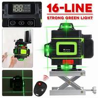 ZEAST Laser Level 16 Line Green Light 3D Remote Control Measure W/Wall Attachment Frame Self Leveling System Green Beam Laser