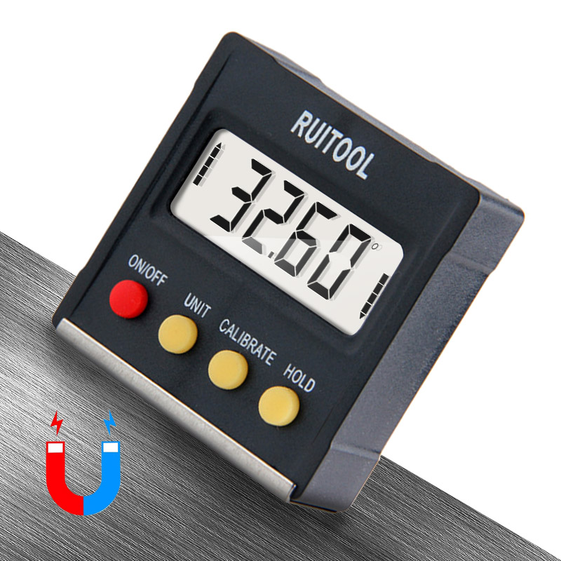 RUITOOL 360 graden mini digitale gradenboog inclinometer Elektronische waterpas Magnetische basis meetinstrumenten