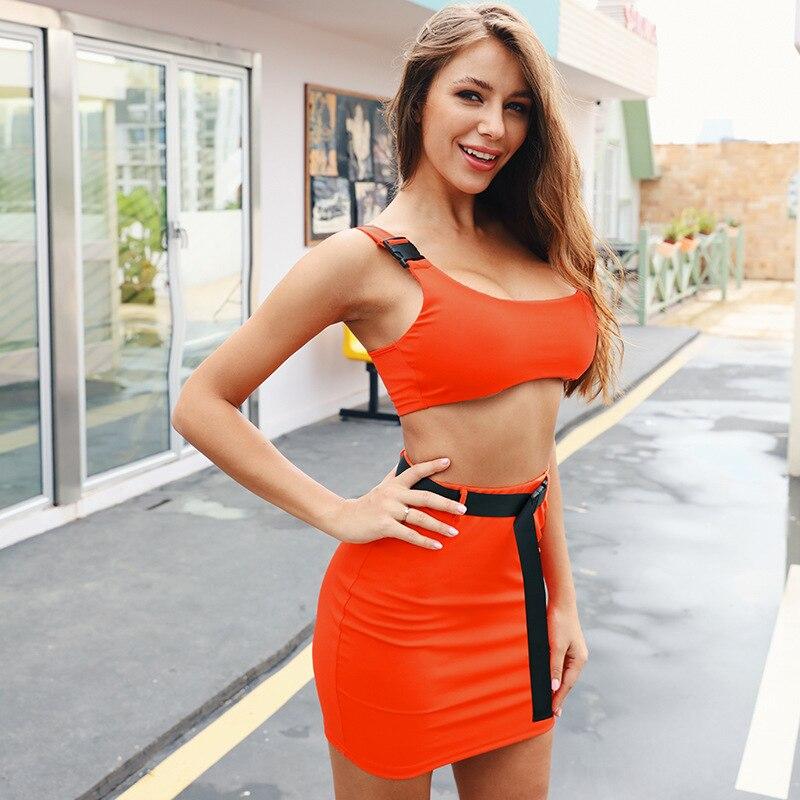 90216 Bag Buckle Small Vest Short Skirt WOMEN'S Suit Sexy Fluorescence Color Epaulet Navel Vest Sheath Short Skirt