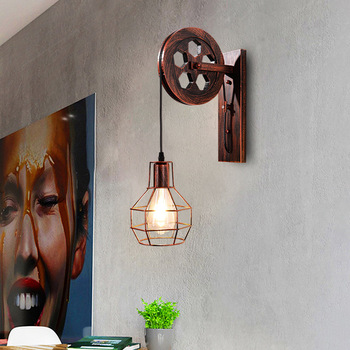 lamp, wrought iron pulley bracket light wall lamp industry corridor, corridor of individual character dining-room lamp