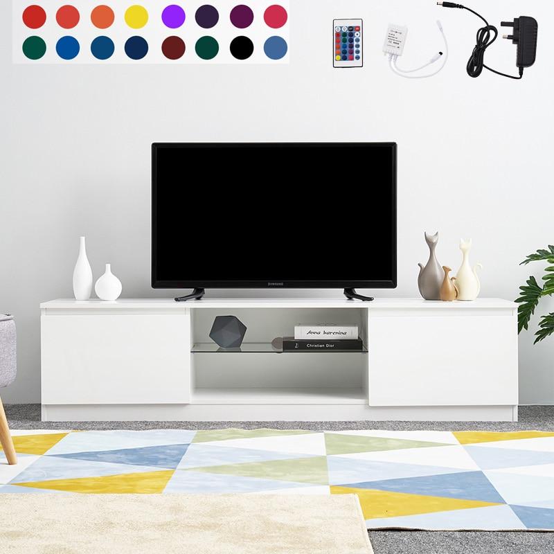 Panana 160cm Length High Gloss TV Cabinet TV Stand White Matt Body LED RGB Light Living Room Furniture Only Ship To UK