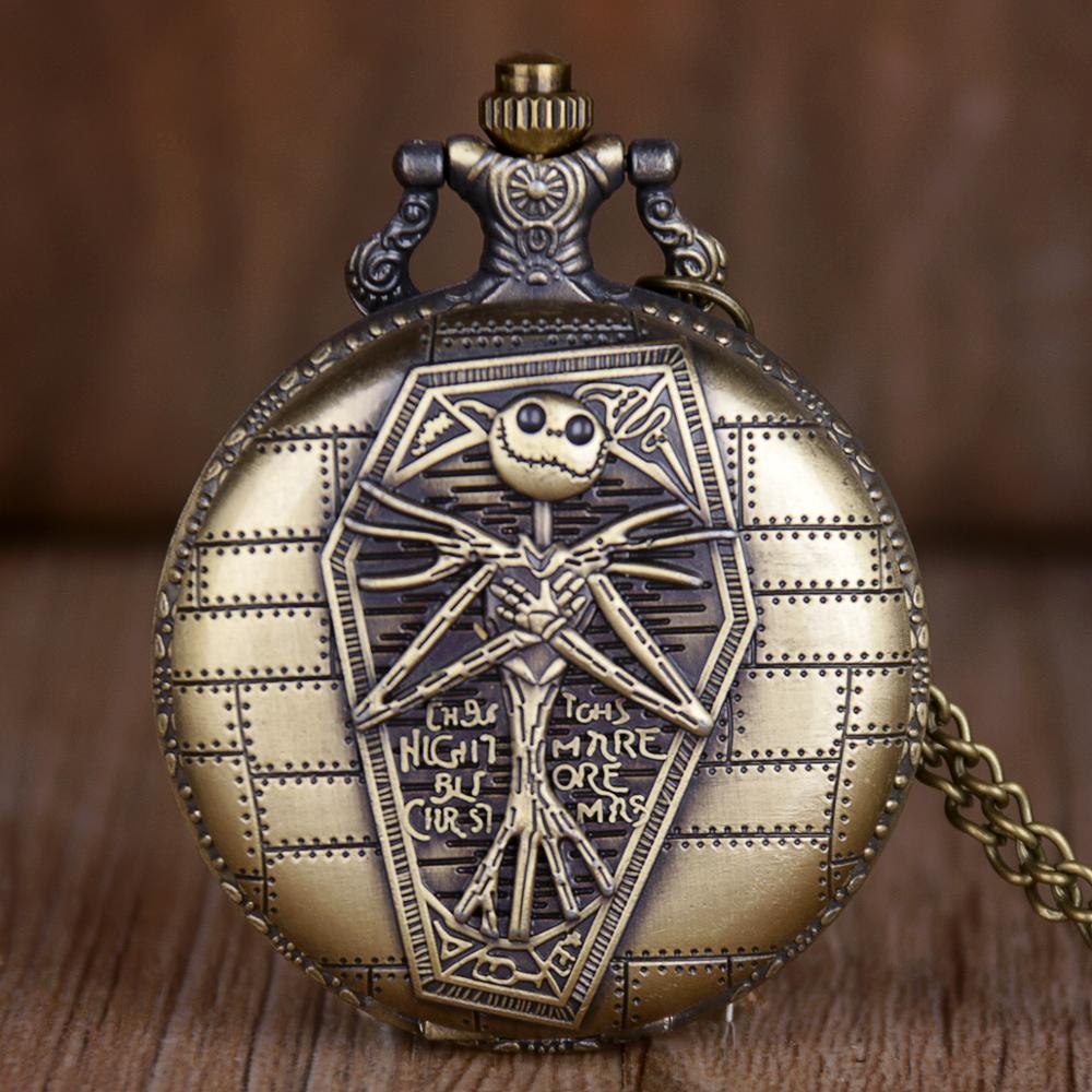 Retro Bronze Tim Burton The Nightmare Before Christmas Quartz Pocket Watch Jack Skellington Pendant Jewelry Fob Necklace Watches