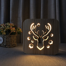 Christmas Deer Led Nightlight 3-d Hollow Wooden Desktop Lamp Wood Carving Animal Childrens Bedroom Decoration