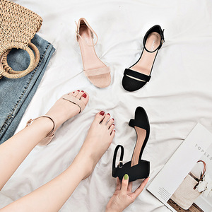 Image 5 - Beige Black Gladiator Sandals Summer Office High Heels Shoes Woman Buckle Strap Pumps Casual Women Shoes Plus Size 34 40 n686