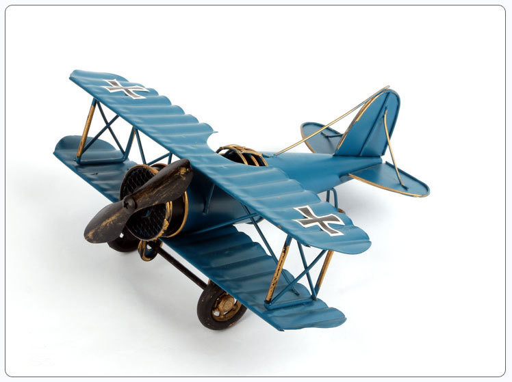 Retro Airplane Figurines Iron Plane Model Antique Glider Biplane Miniatures Vintage Home Decor Aircraft Ornament for Kids Gift image
