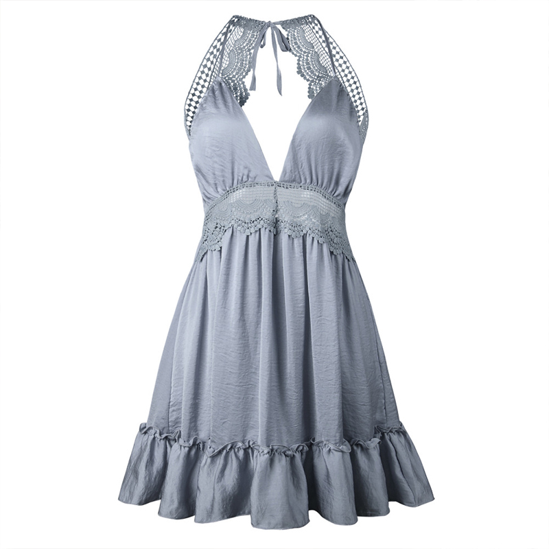 MIOFAR <font><b>Lace</b></font> Mini <font><b>Dress</b></font> V Neck <font><b>Sexy</b></font> Casual Sleeveless <font><b>Backless</b></font> Strap Ruffle <font><b>Dresses</b></font> Beach <font><b>Hollow</b></font> Out Party Fashion Vintage <font><b>Dress</b></font> image