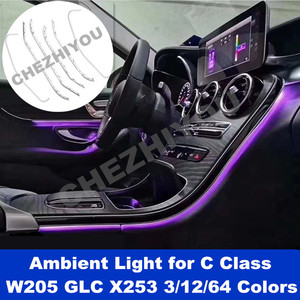 For Mercedes Benz C Class W205 GLC X253 Ambient Lamp Lights for illuminated Car Styling 3/12/64 Colors LED Atmosthere light