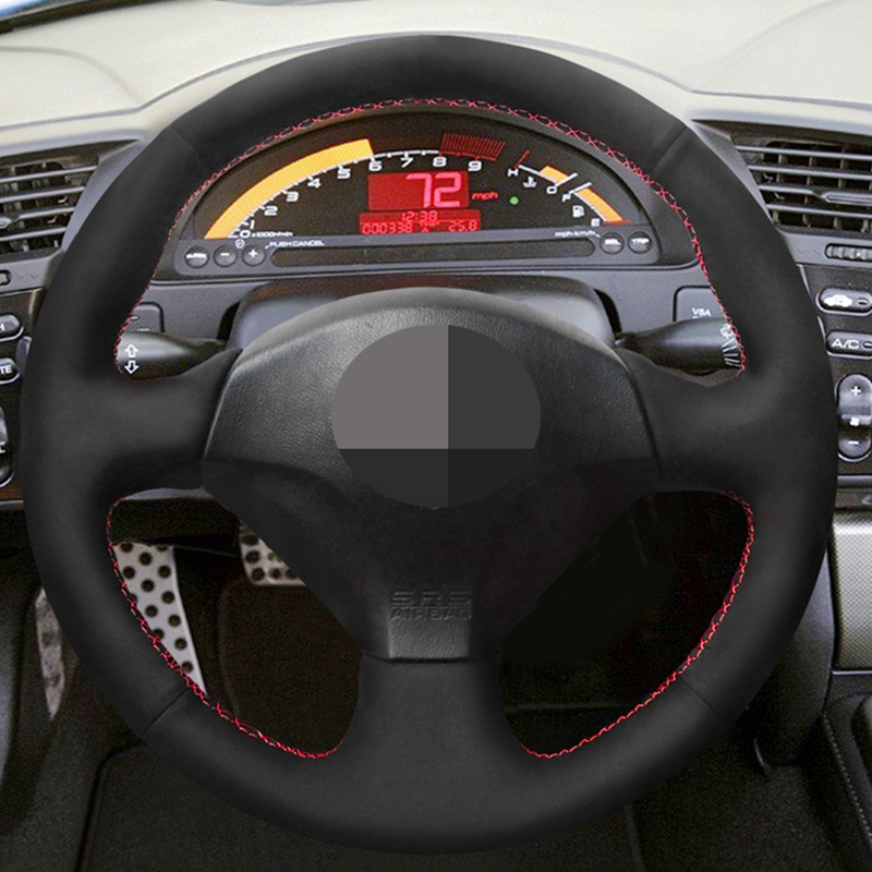 Hand-stitched Black Hige Soft Suede <font><b>Car</b></font> Steering <font><b>Wheel</b></font> <font><b>Cover</b></font> for Honda S2000 2000-2008 Acura RSX Type-S 2005 Civic Si 2002-2004 image