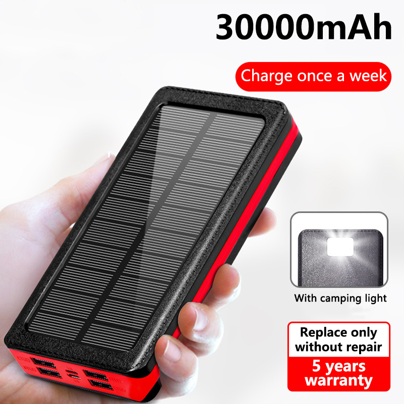<font><b>30000mah</b></font> <font><b>Solar</b></font> <font><b>Power</b></font> <font><b>Bank</b></font> <font><b>Waterproof</b></font> <font><b>Solar</b></font> Charger 4 USB Ports External Charger Powerbank For iPhone Xiaomi Mi 9 With LED light image