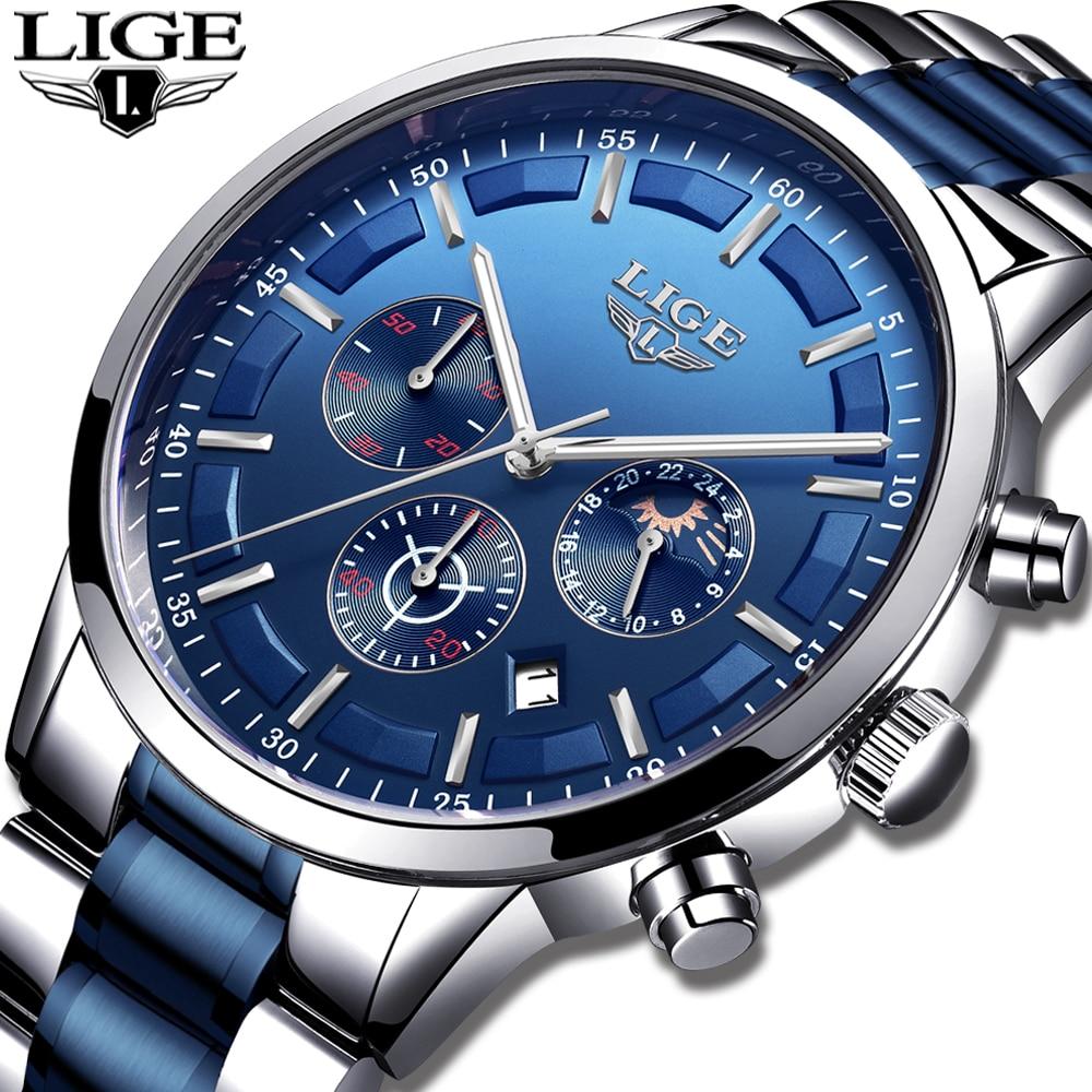 2019 New Watches Mens LIGE Top Brand Analogue Quartz Clock Stainless Steel Waterproof Luminous Sport Watch Men Relogio Masculino
