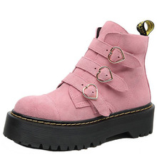 Platform Boots Buckle Heart-Shaped-Decor Botines Ladies Shoes Punk Women Short Strap