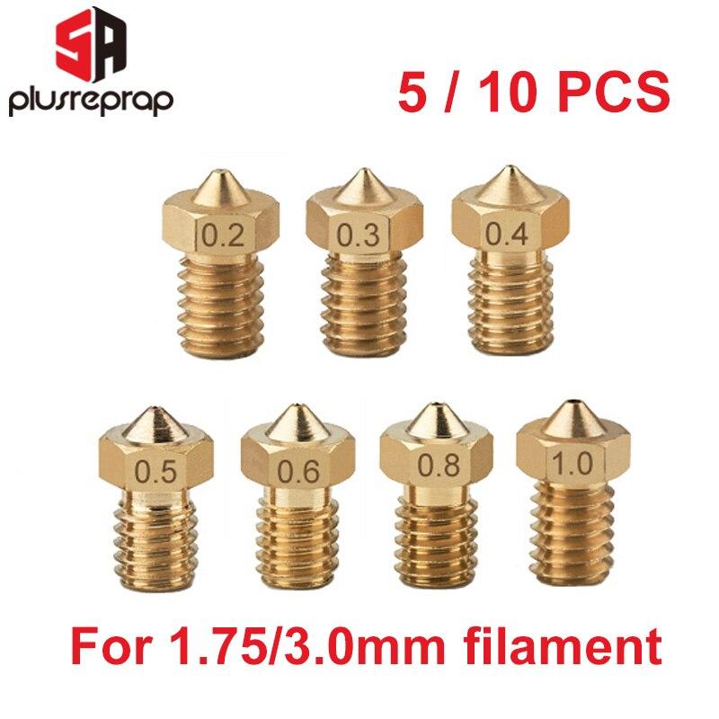 5/10 pièces M6 fileté buse plein métal 0.2/0.3/0.4/0.5/0.6mm en option pour 1.75/3.0mm Filament V5 V6 Hotend extrudeuse 3D imprimante