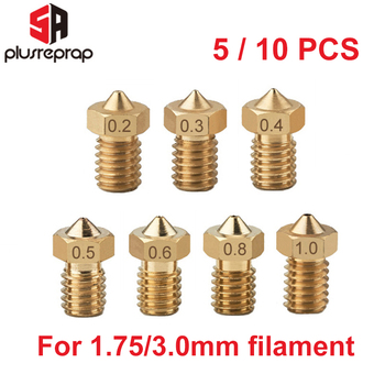 5/10pcs M6 Threaded Nozzle Full Metal 0.2/0.3/0.4/0.5/0.6mm Optional for 1.75/3.0mm Filament V5 V6 Hotend Extruder 3D Printer mellow all metal nf crazy hotend v6 copper nozzle for ender 3 cr10 prusa i3 mk3s alfawise titan bmg extruder 3d printer parts