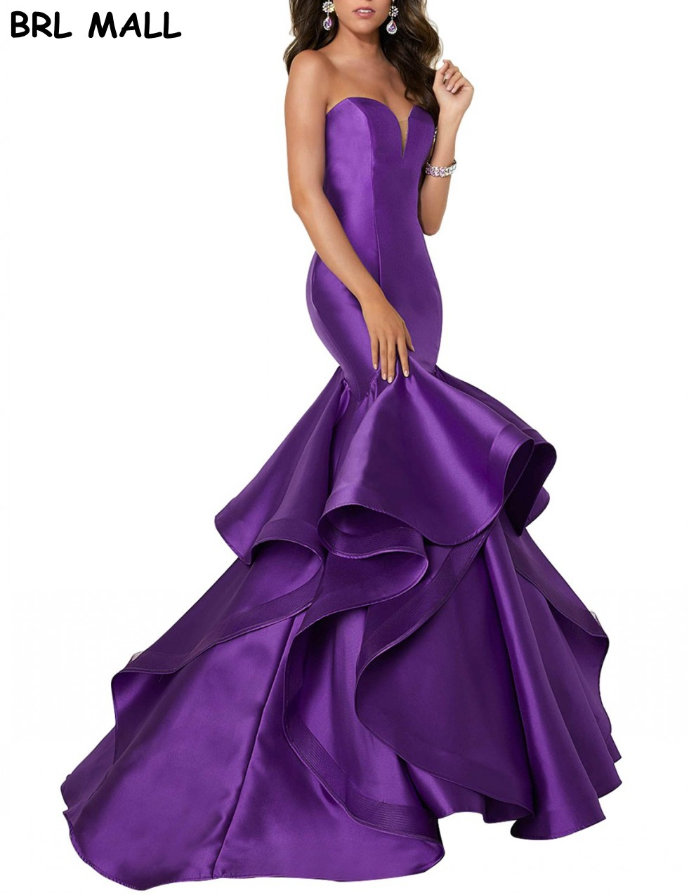 Sexy Purple Satin Mermaid Prom Dresses For Teens Girl Sweetheart Elegant Formal Evening Dresses Cheap Party Bridesmaid Gowns