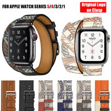 For Apple Watch 5 4 3 2 1 Herm Logo on Clasp Swift Leather Double Single Tour Band Strap 44mm 40mm Wristband for iWatch 44