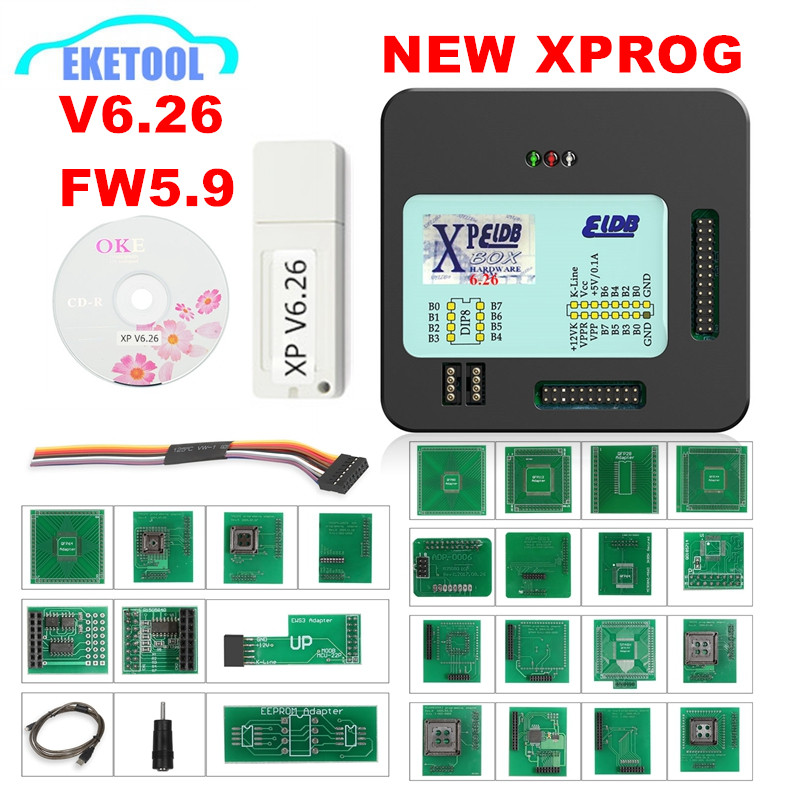Newest V6.26 <font><b>XPROG</b></font> V6.12 V5.84 V5.86 Add More Authorization <font><b>XPROG</b></font>-M 5.55 <font><b>Xprog</b></font> Metal Box ECU Chip Tuning Full Adapters image