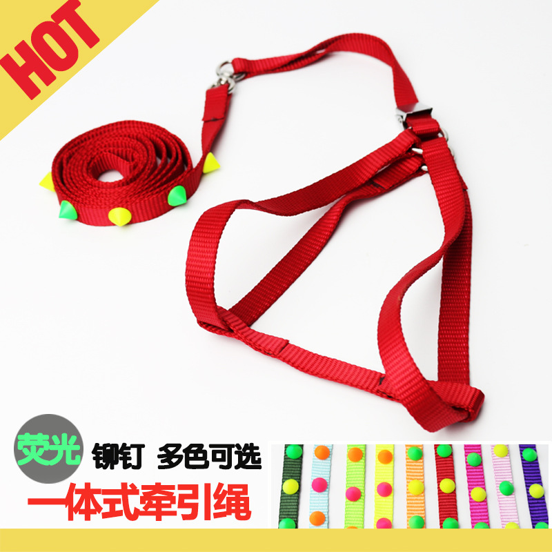 New Style One-piece Pet's Chest-back Hand Holding Rope Fluorescent Colorful Dog Pet Traction Chest And Back