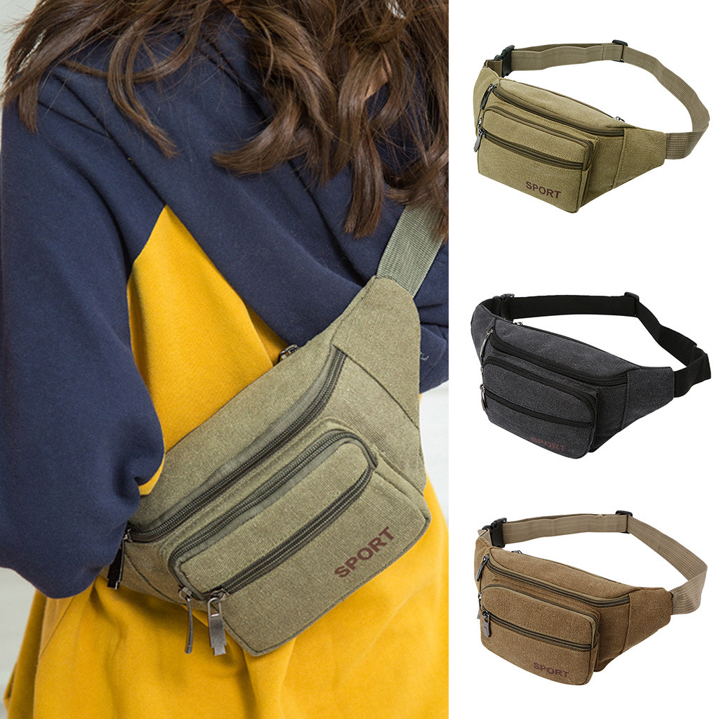 Fashion Canvas Unisex Solid Casual Sports Pockets Shoulder Bag Waist Packs Pouch Pockets Zipper Solid 3 Color Travel Supplies