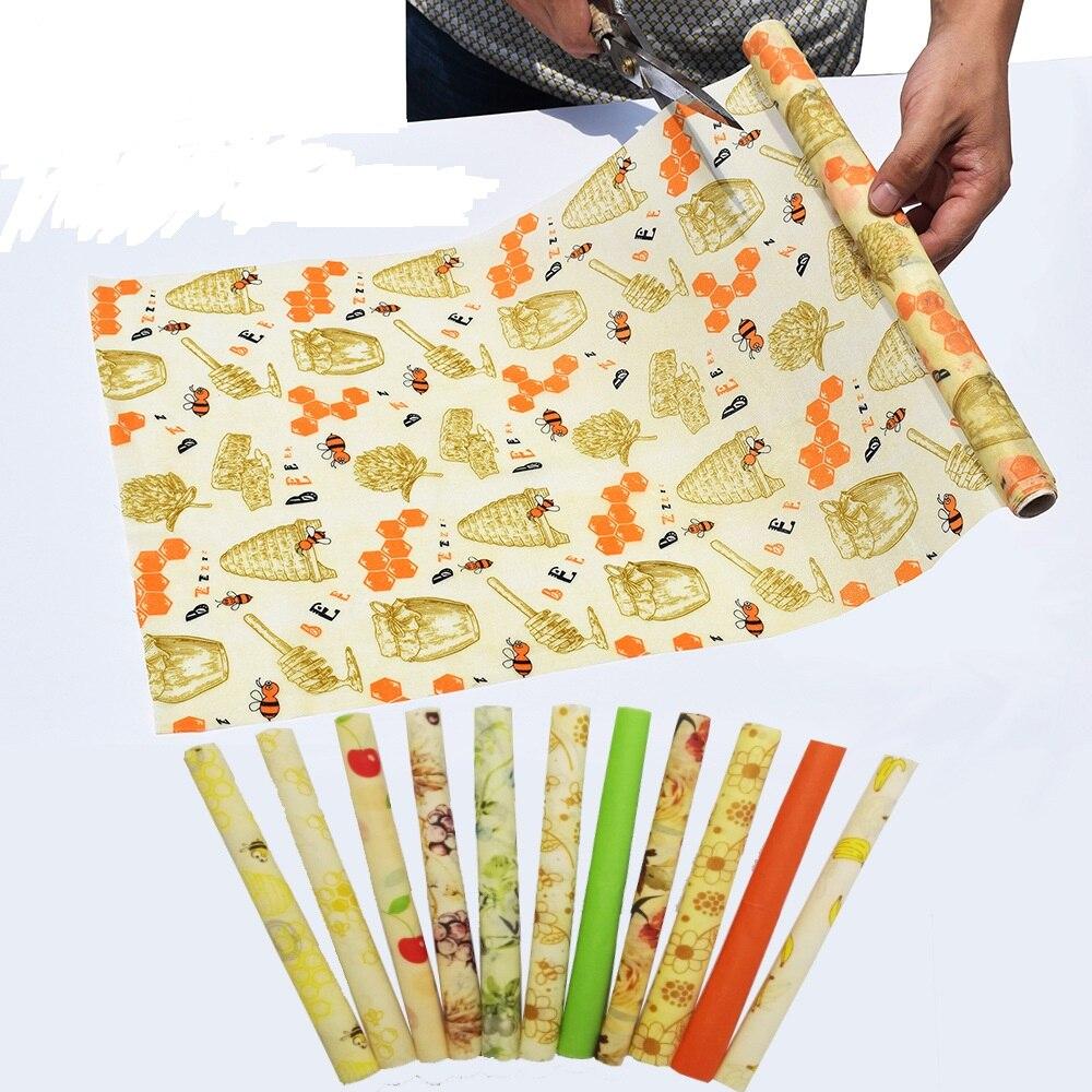 Solid Green Organic Beeswax Food Wraps Zero Waste Honey Reusable Fruit Avocado Food Storage Bee Wax Wraps Bees Saran Wrap