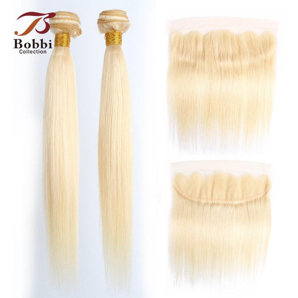 BOBBI COLLECTION Color 613 Blonde Bundles With Closure Platinum Blonde Straight Non Remy Human Hair Brazilian Hair Weave Bundles