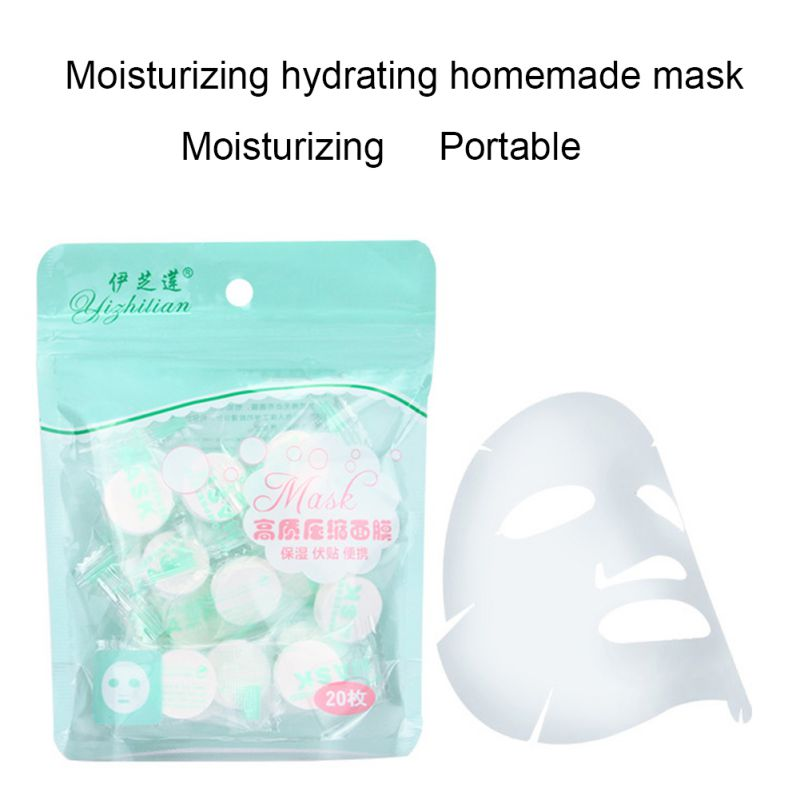 20PCS/Set Disposable Wrapped Masks Women Girls Facial Cotton Portable Compressed Mask Sheets Tablets For DIY Skin Care