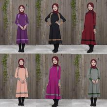 Muzułmańska z długim rękawem sukienka dla dziewczynki dziecko dziecko Abaya islamski dubaj arabski szata suknie tradycyjny odzież
