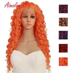 Aimolee largo rizado Ombre peluca frontal de encaje resistente al calor sintético naranja rojo púrpura pelucas de pelo para mujeres negras Cosplay fiesta