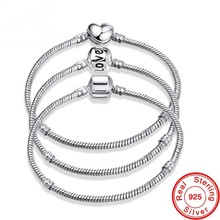 Luxury 100% 925 Sterling Silver Letter LOVE Snake Chain Bracelet Fit Original Brand Beads Charms DIY Jewelry