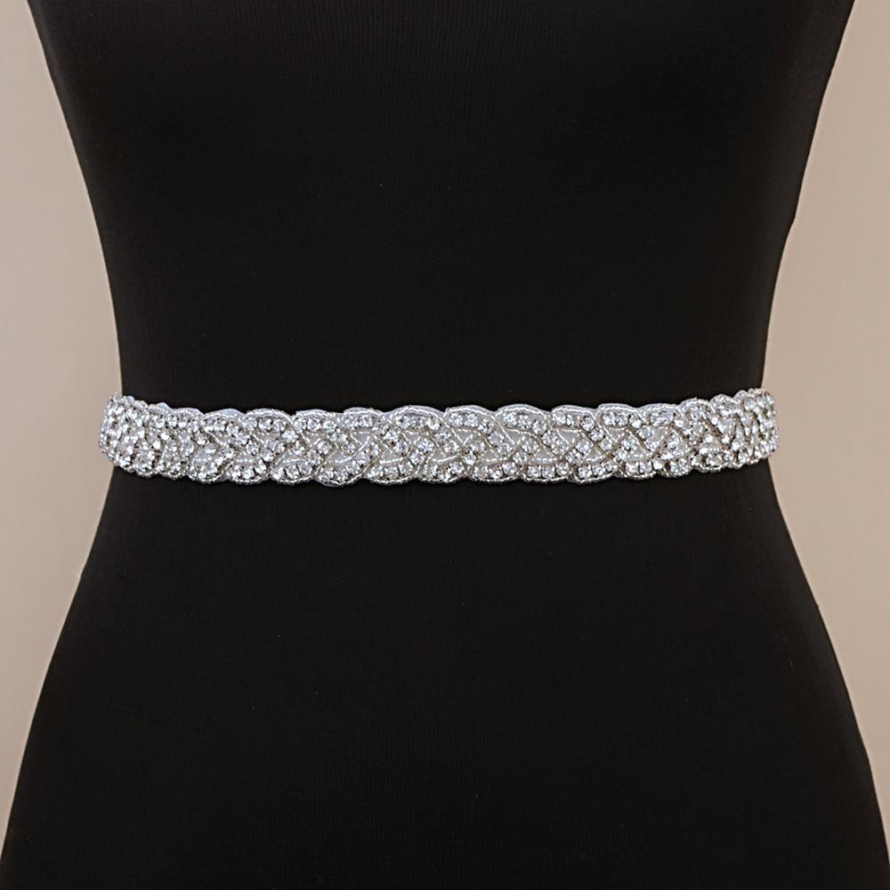 TRiXY S216 Wedding Belt Sash Bridal Belts Rhinestones Silver Diamond Belts for Dresses Skinny Beaded Belt Jewelry Sash Belt