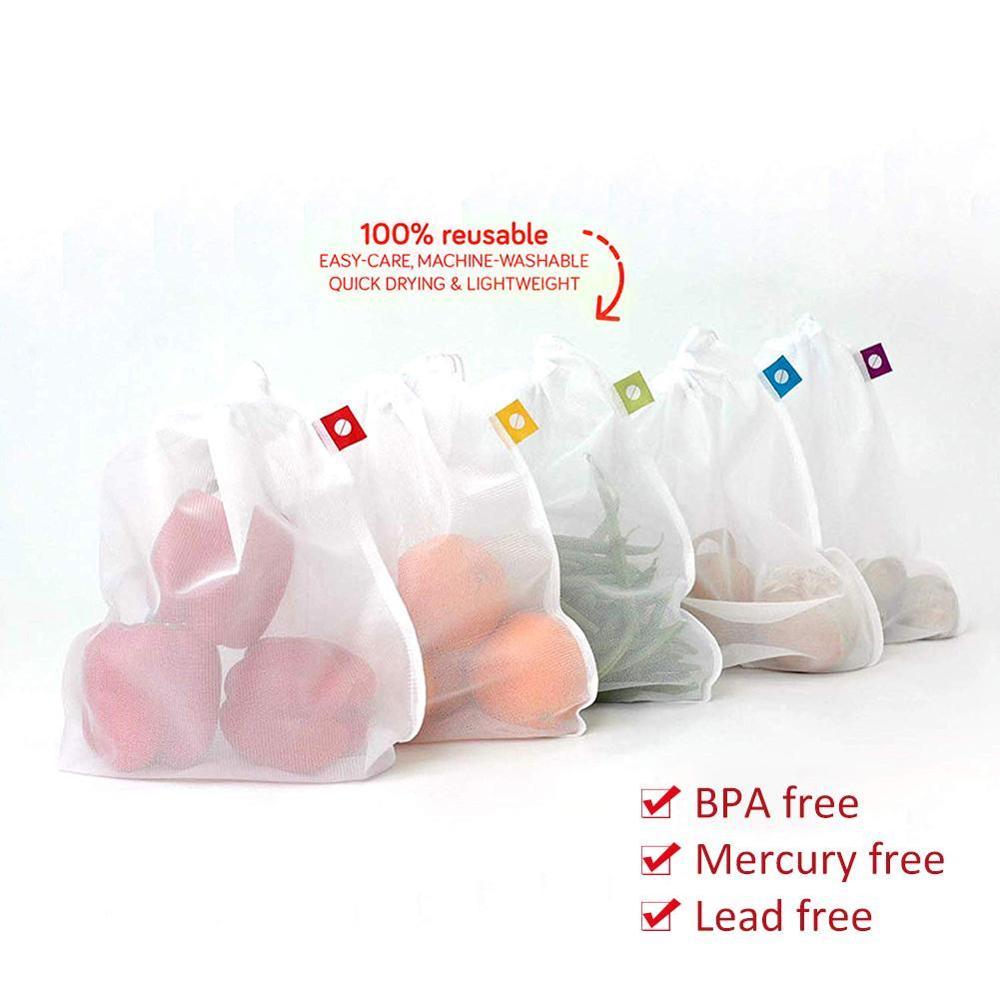 Reusable Eco Produce Shopping Bag For Fruits Vegetables Supermarket Shopper Bag White Foldable Folding Shopping Mesh Bags Pouch