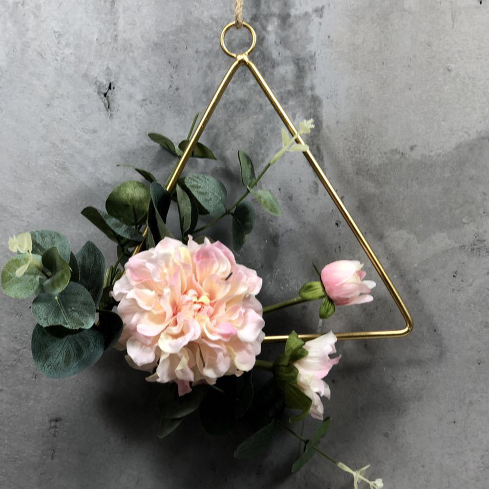 wedding : 3PCS Cilected Flower Hanging Hoop Wreath Geometric Round Triangle Square Frame Artificial Flower For Wedding Backdrop Wall Decor