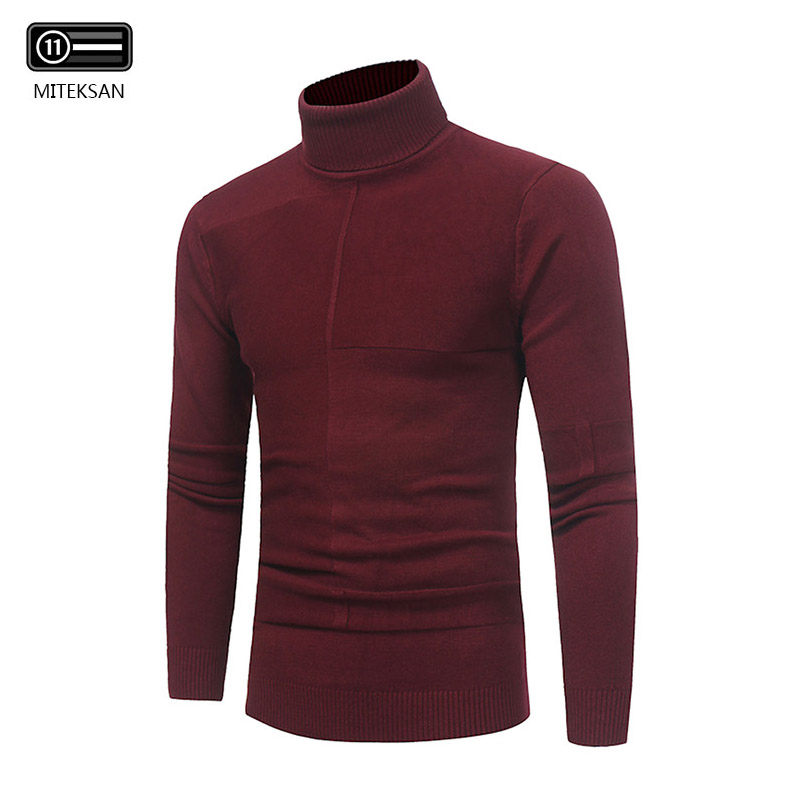 Pullover Men Sweaters Slim-Fit Knit Winter Plus-Size Solid Turtleneck Comfortable Simple