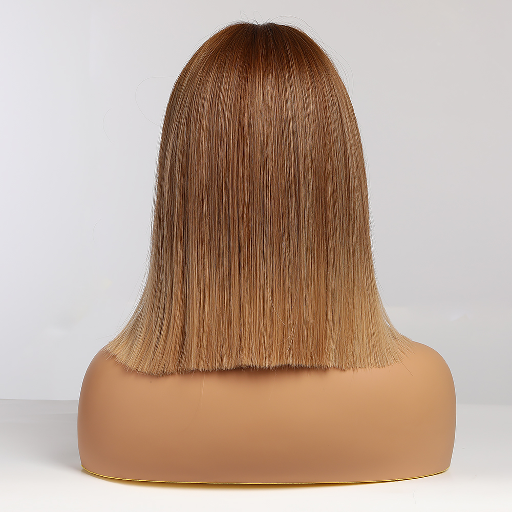 EASIHAIR Brown Ombre Straight Bob Wigs Women Synthetic Wigs with Bangs Natural Hair Wig High Temperature Wig Cute Cosplay Wigs